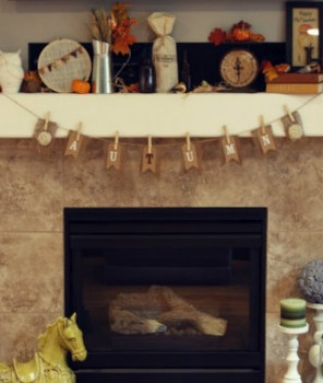 Fall-themed decor, fall-themed mantel, fireplace designs, Fall decorating ideas,