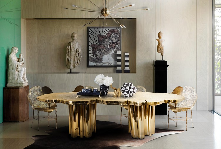 20 dining room inspirations to share with your friends Fortuna golden dining table by Boca do Lobo home inspiration ideas