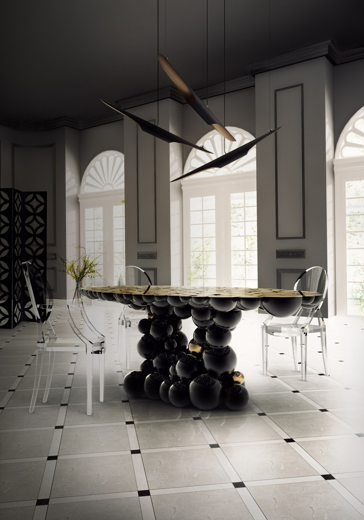 20 dining room inspirations to share with your friends Newton gold and black round dining table by Boca do Lobo home inspiration ideas