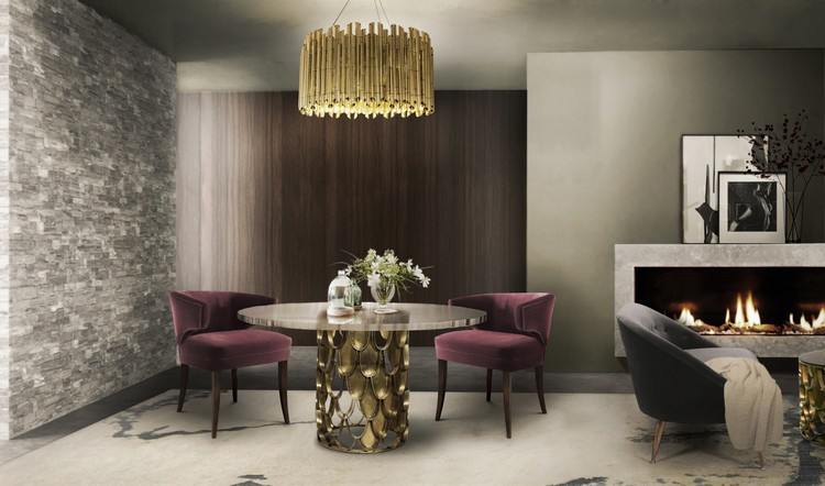 KOI round dining table in brass by BRABBU home inspiration ideas