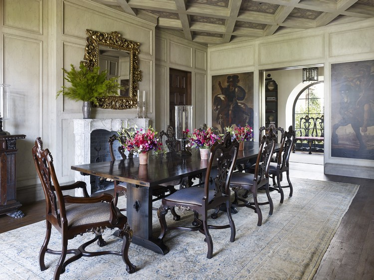 This Santa Monica, California, home was furnished with a mix of antiques and contemporary pieces. Smith fashioned the dining room's refectory-style table himself from antique wood. home inspiration ideas
