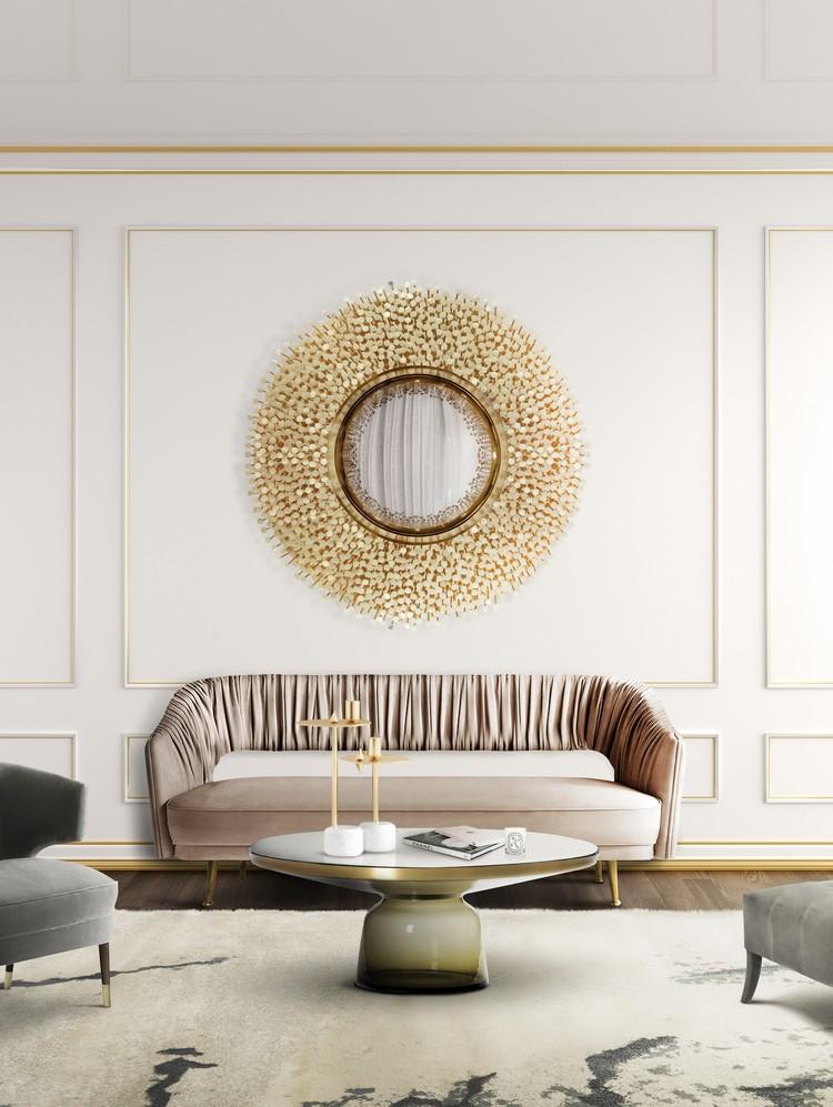 luxury round wall mirror by Boca do Lobo