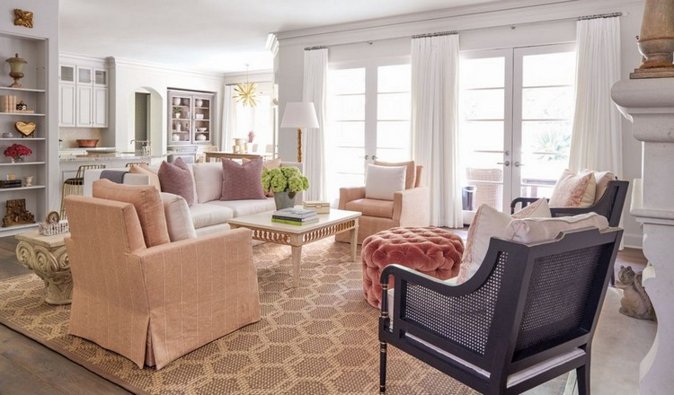Family room with chairs in Kerry Joyce fabrics and Holly Hunt sofa home inspiration ideas