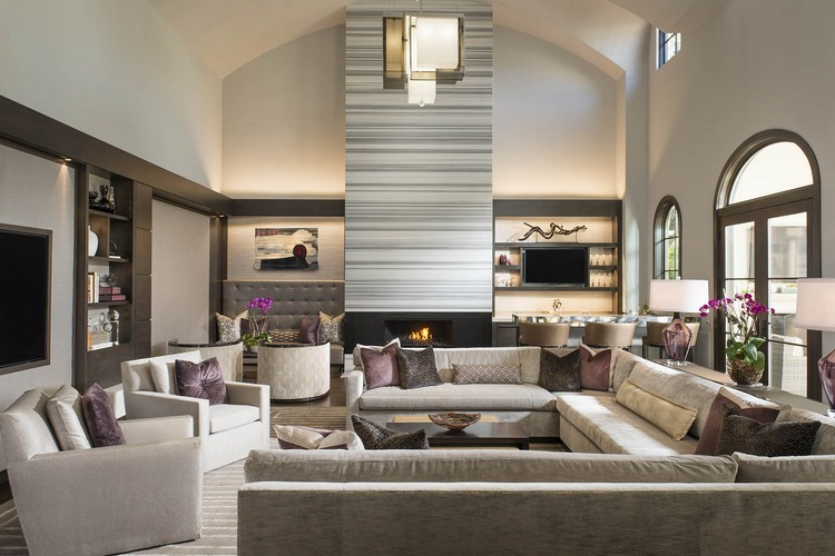 Big living room with a mix of grey color schemes home inspiration ideas