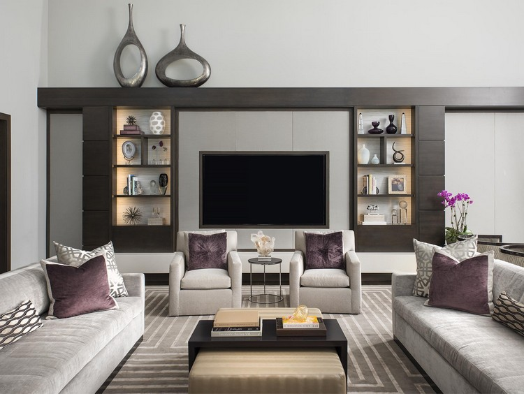 Sitting room with a pair of upholstered chairs, coffee table and moder sofas home inspiration ideas