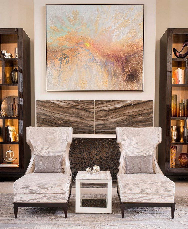 Luxury lounge area with wingback chairs home inspiration ideas