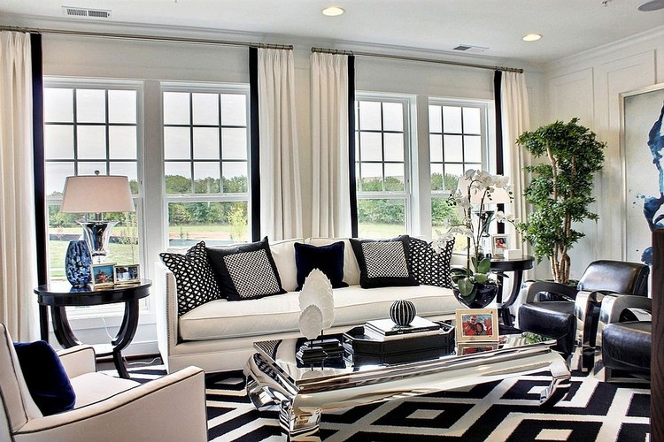 Black White And Blue Shape A Refined Family Room With Mirrored Center Table Ideas Home Inspiration