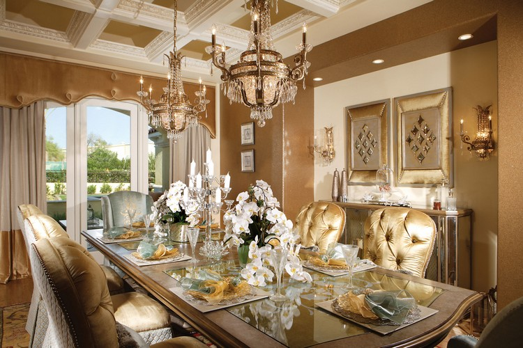 Golden Interior design styles for luxury dining rooms home inspiration ideas