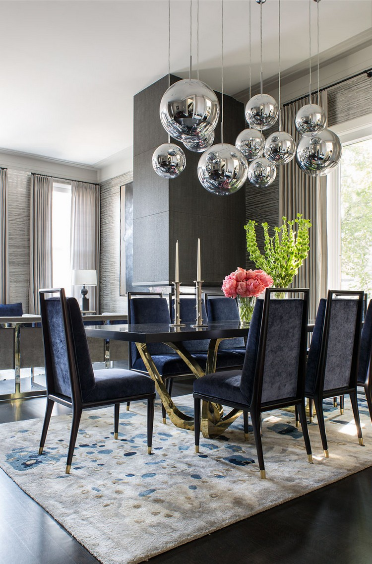 Blue dining chairs for a luxury dining room decor home inspiration ideas