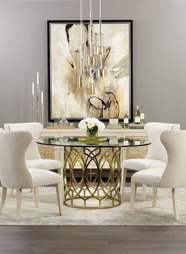 Round dining table in brass with white chairs home inspiration ideas