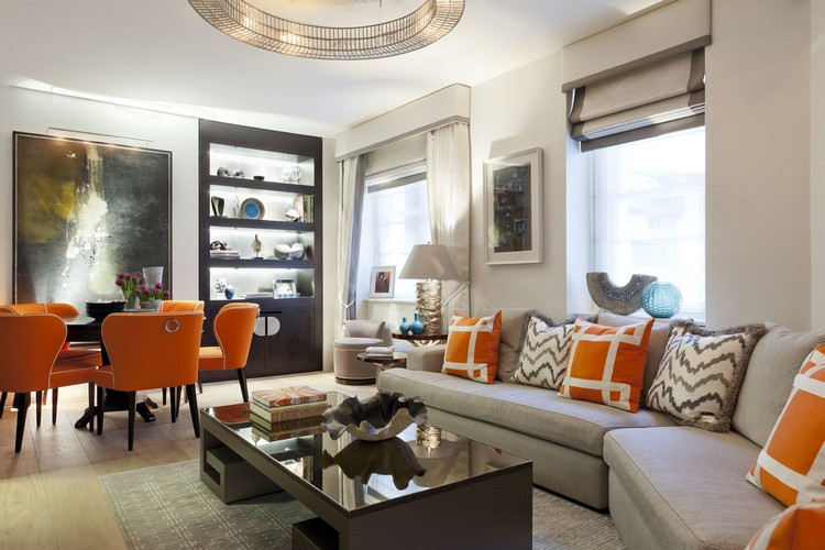 DIning room decor with orange dining chairs home inspiration ideas