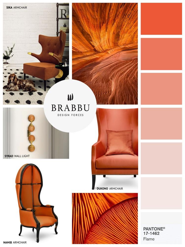 Pantone spring colors 2017 FLAME home inspiration ideas