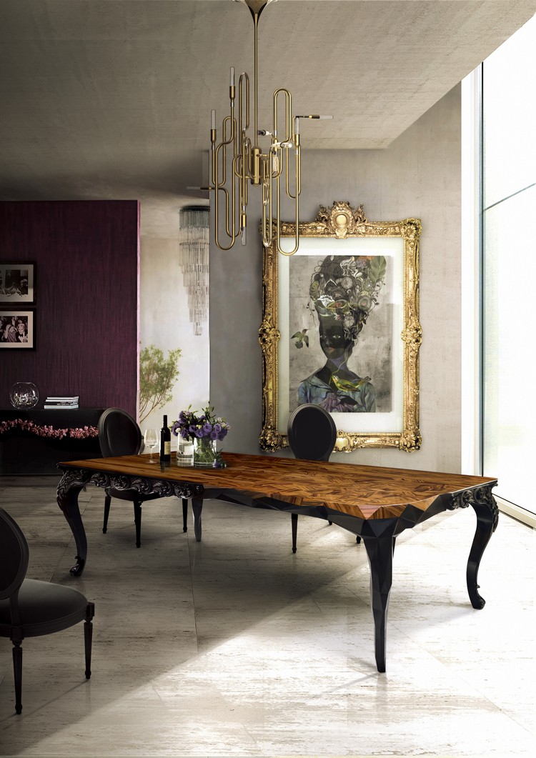 Boca do Lobo luxury dining room design with ROYAL rectangular wood table home inspiration ideas