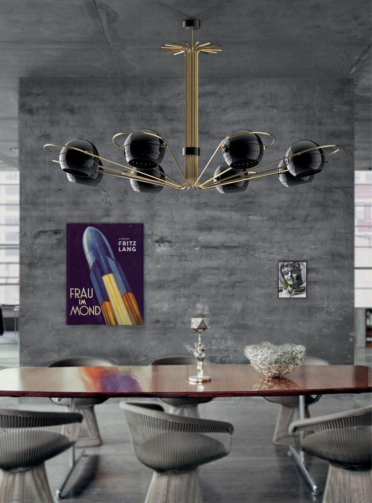 Delightfull dining ceiling lighting decor ideas NEIL suspension black and gold lamp home inspiration ideas