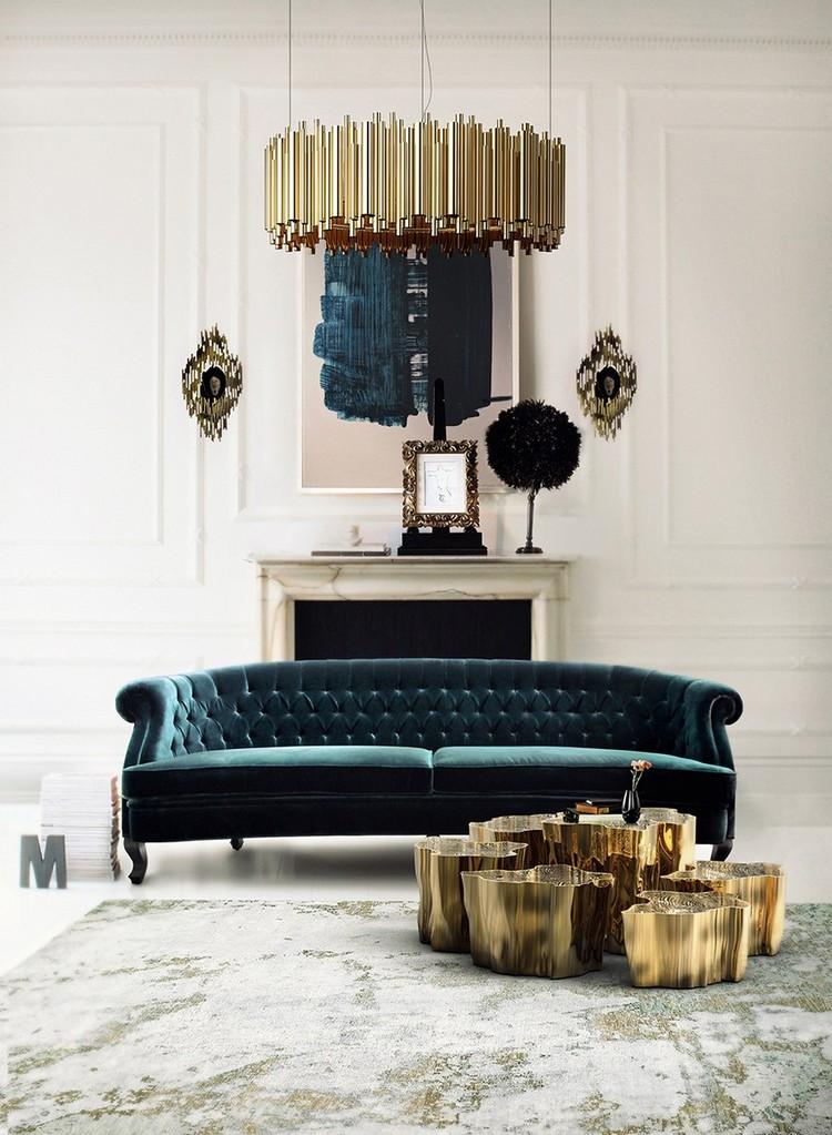 Living room furniture - dark blue velvet sofa home inspiration ideas
