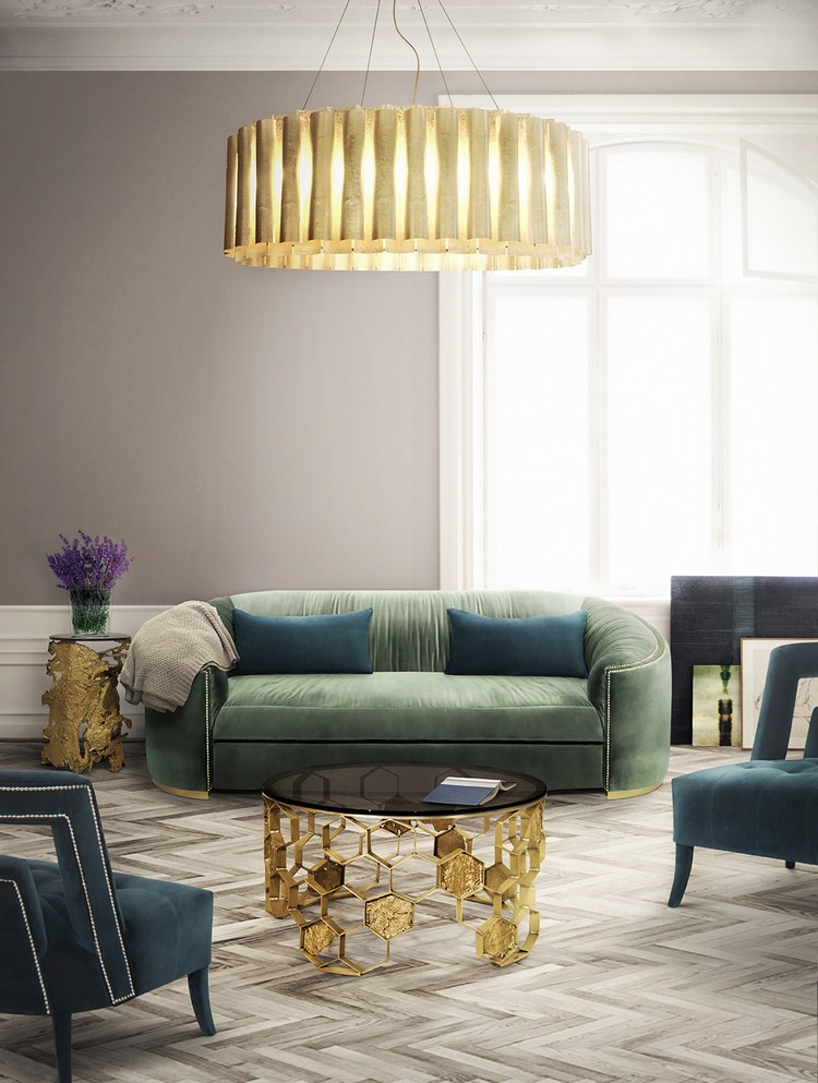 Green modern sofas in a large midcentury living room home inspiration ideas