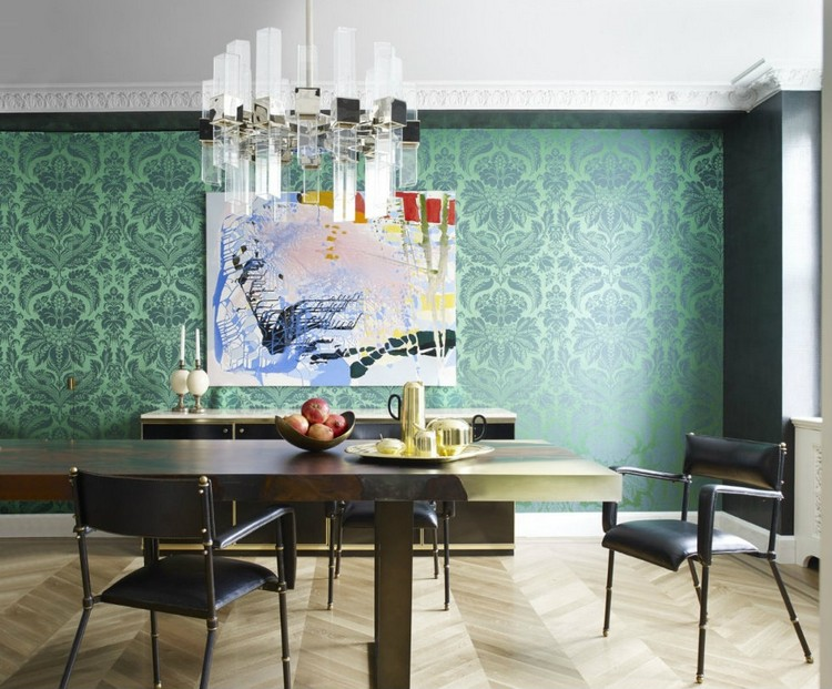 Wood dining table with Jacques Adnet chairs home inspiration ideas
