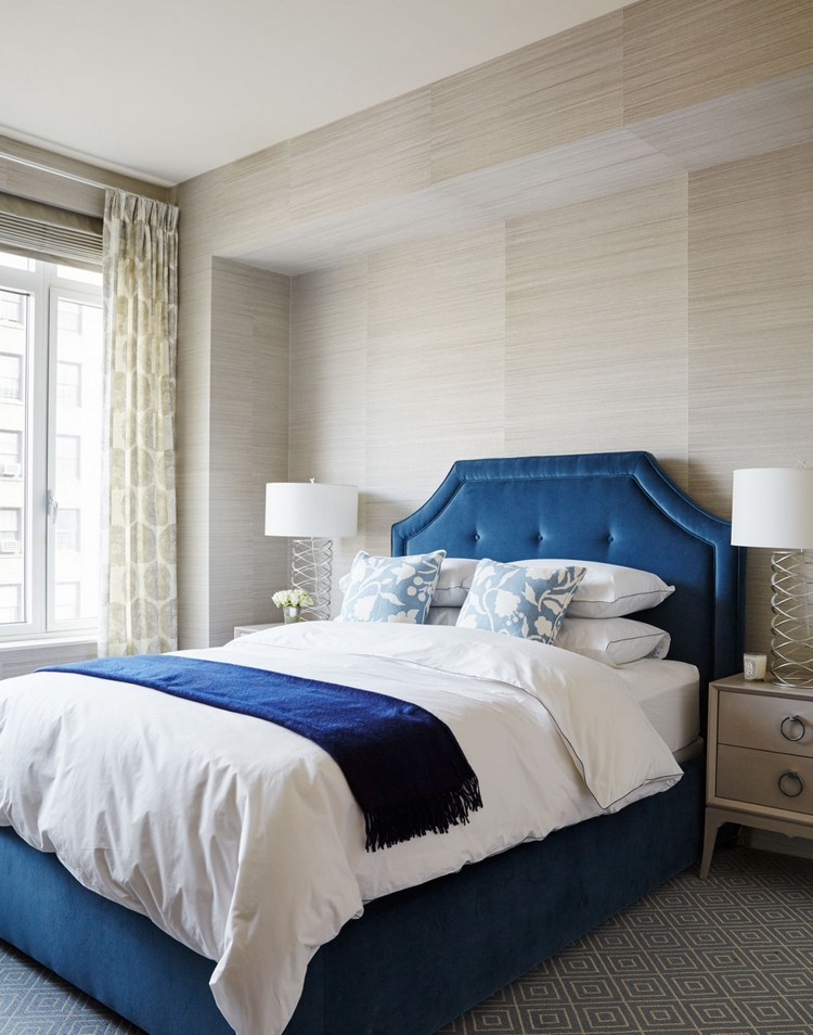 Bedroom design ideas - Blue velvet tufted headboard home inspiration ideas